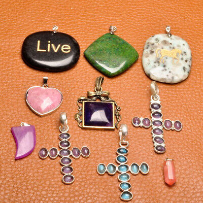 "Approx 2 1/2"" - 7/8"" Wholesale Multi Gemstone 925 Silver Plated Pendants"