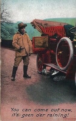 """Vintage Postcard """"You Can Come Out Now"""", Bamforth, Humorous, Old Motor Vehicle"""
