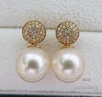 HS 11.23mm South Sea Cultured Pearl & Diamond .42ctw Circle Stud Earrings 18KYG