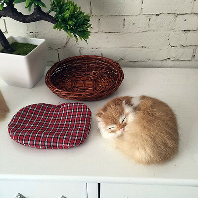 Replicas Life-Like Sleeping Cat With Bamboo basket In Fur Figurine Free Shipping