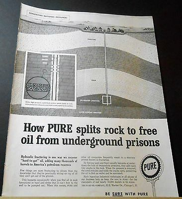 1959 How Pure Oil Splits Rock Frees Oil From Underground Prisons Advert