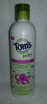 Tom's Maine Baby SHAMPOO & WASH Fragrance Free Natural Tear-Free 10 oz/295mL New