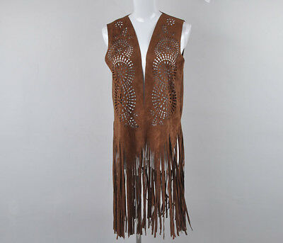 TS Accessories Suede Faux  Gypsy Boho Hippie Western Fringed Vest Tunic Size M
