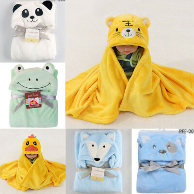 Newborn Infant Baby Kids Soft Flannel Hooded Blanket Bath Towel Animal Bathrobe