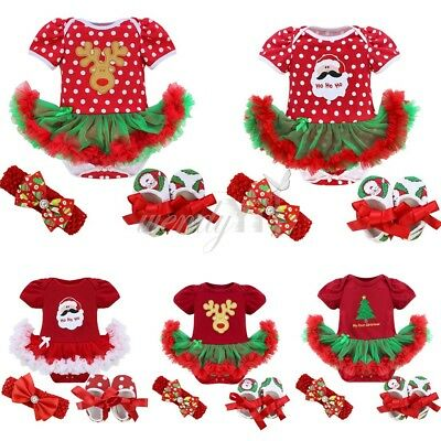 Christmas Toddler Infant Baby Girl Deer Romper Headband Shoes Set Outfit 0-9M