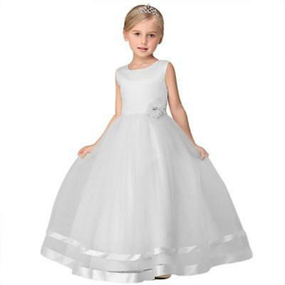 Girls Kids Flower Princess Formal Party Wedding Bridesmaid Long Dress Tulle Gown