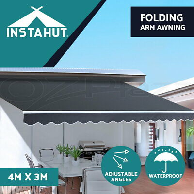 Instahut 2M x 1.5M Outdoor Folding Arm Awning Retractable Shade Sail Grey