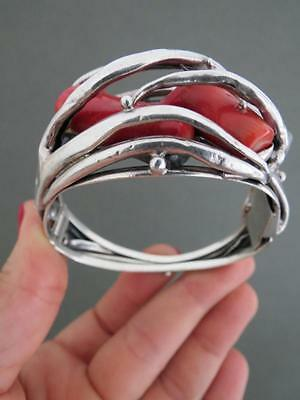 Vintage Silver Coral Bangle Bracelet Scandinavian Mid Century Bangle