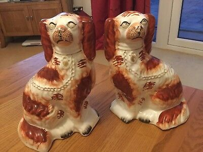 Pair Antique Staffordshire Spaniel dogs Victorian