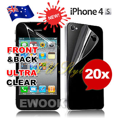 20x iPhone 4 4S Screen Protector Front  & Back LCD Ultra Clear Cover For Apple