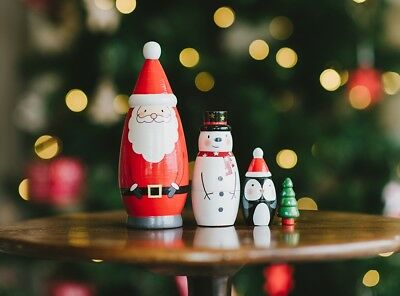 Christmas Nesting Dolls Wood Santa Snowman Tree Penguin Russian Dolls Xmas