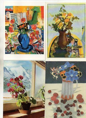 46 postcards of WORKS OF ART: FLOWERS various artists