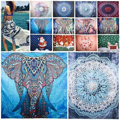 1.5mX2m LARGE Indian Tapestry Wall Hanging Mandala Hippie Bedspread Throw Mat AU