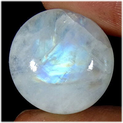 100% NATURAL RAINBOW MOONSTONE CABOCHON LOOSE 18X18X06MM GEMSTONES 15.90Cts.