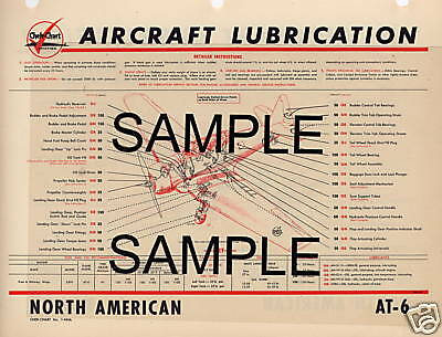 North American Navion Aircraft Lubrication Chart Cc
