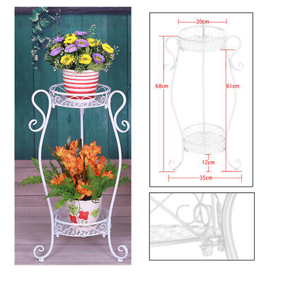 Metal Plant Stand White 2-Tier Scroll Flower Potted Shelf Indoor Outdoor UK