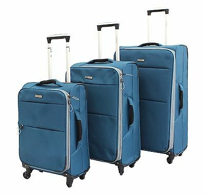 Set of 3 Lightweight Suitcase 4 Wheel Spinner Luggage Trolley Travel Cabin Bag