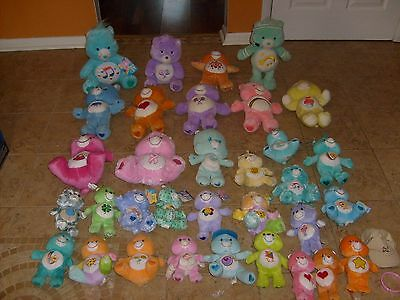 HUGE Vintage CARE BEARS PLUSH 34 FIGURE LOT Many with tags! Animated and More