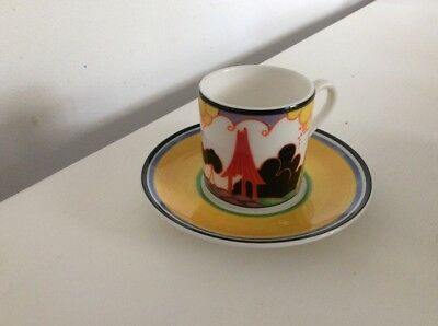 WEDGWOOD LIMITED EDITION, CLARICE CLIFF COFFEE CUP & SAUCER Summer House