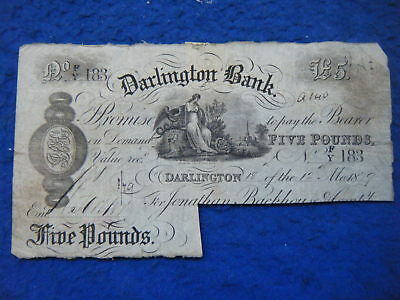 Darlington Bank: 1879 £5 Note, Cancelled - Scarce Banknote!