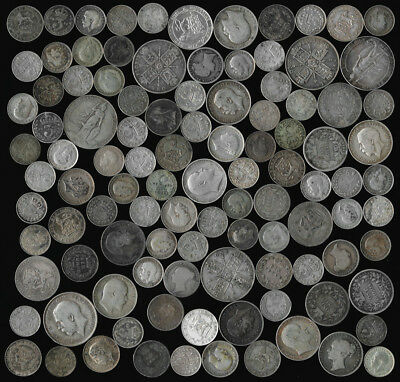 105 OLD BRITISH SILVER COINS (3 PENCE to FLORINS) SEE THE PICTURES > NO RESERVE