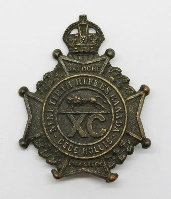90th Winnipeg Rifles Canada Cap Badge - King's Crown #27