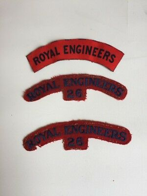 world war 2, 3 British Royal Engineers Shoulder Titles - See Description