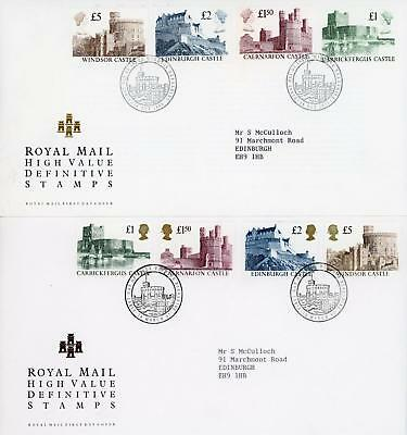 GB 1988 & 1992 Castles High Values, Pair of Royal Mail FDC's