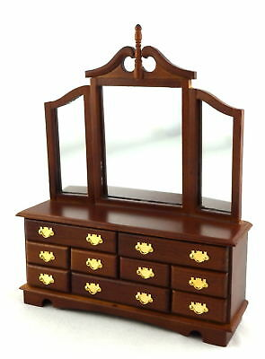 Damaged Melody Jane Dolls House Walnut Triple Mirror Dressing Table 1/12