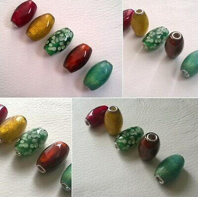 Assorted Hand Made Tube Beads 28mm x 15mm, Gold Leaf + Free Bracelet
