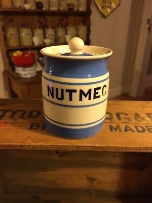 Vintage Price Bros Kitch. Ware Blue Banded Small Jar – Nutmeg – Great! –
