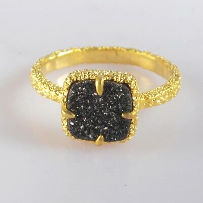 Size 6.5 Black Agate Titanium Druzy Bezel Claw Prong Ring Gold Plated H103366