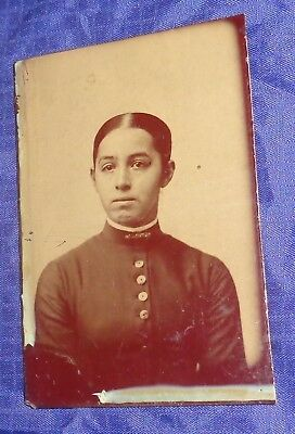 SE876 Antique TinType Photo Young Lady Reesor Family Markham ON