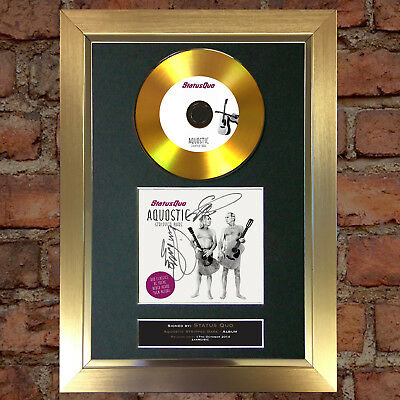 GOLD DISC STATUS QUO Aquostic Signed Autograph Mounted Photo Repro A4 #79
