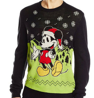 Disney Men's Holiday Mickey Mouse Christmas Sweater Black & Green Size L