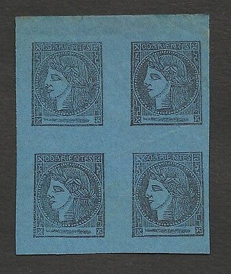 Argentina CORRIENTES Scott# 3 Block of 4 MINT Forgery