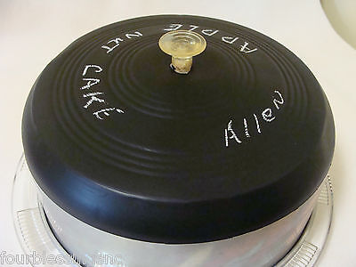 1950's Cake Carrier/saver-Footed Glass Plate-Clear Knob-Chalkboard Top/aluminum