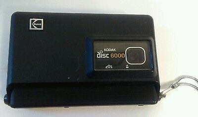 Vintage Kodak Disc 6000 Camera Black Eastman Kodak Company Made Usa Metal Strap