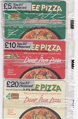 BT Phonecard, PRO134 to PRO136 £5,  £10 & £20 Deep Pan Pizza, mint sealed