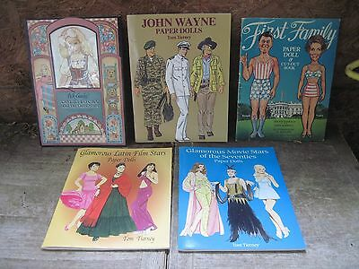 5 Paper Doll Books, Never Used, 3 by Tom Tierney + (Ronald)Reagans & Goldilocks