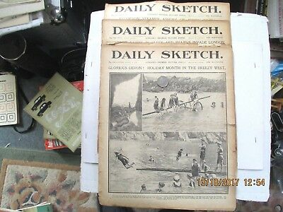 3 X Vintage Daily Sketch Newspapers From 1911