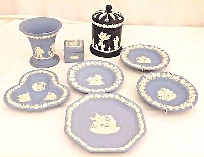 #7438 Joblot Bundle of Wedgwood Pale Blue and Black Jasper Ware (8Items) in VGC