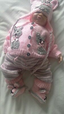 """Hand knitted dolls clothes to fit 20-22""""reborn doll or 0-3mth baby."""