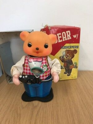 Vintage Tin Toy Bear With Flash camera In Box
