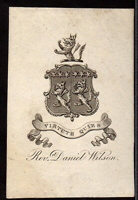 BOOK PLATE/Ex Libris ~ REVEREND DANIEL WILSON ~ BISHOP OF CALCUTTA Vicar Mitcham