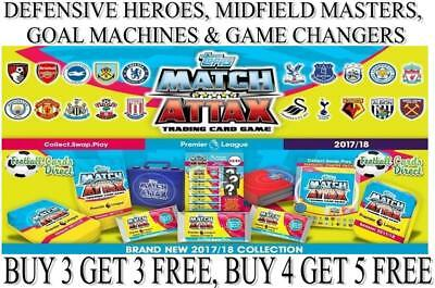 Match Attax 2017/18 17/18 DEFENSIVE HEROES & MIDFIELD MASTERS #MT1 - #MT30