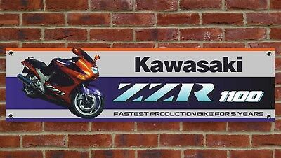 Br146 Kawasaki Zzr1100 Zzr1100D Banner Garage Workshop Sign