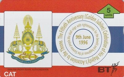 BT Phonecard, BTO122 5u Golden Jubilee Thailand, mint, cat £60