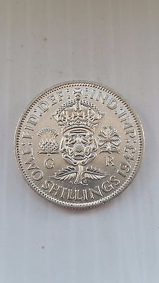 1943*aunc*gb King George Vi One Florin / Two Shillings 0.500 Silver Coin-#855