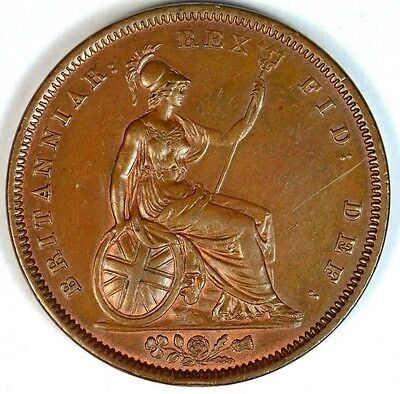 1837 WILLIAM IV...PENNY With Lustre...Very Rare in This Condition...Fast Post